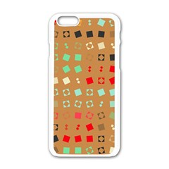 Squares On A Brown Backgroundapple Iphone 6/6s White Enamel Case