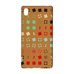 Squares on a brown background			Sony Xperia Z3+ Hardshell Case