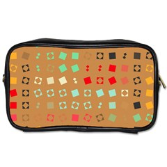 Squares on a brown background Toiletries Bag (Two Sides)