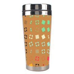 Squares on a brown background Stainless Steel Travel Tumbler