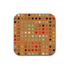 Squares on a brown backgroundRubber Square Coaster (4 pack