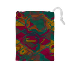 Geometric shapes in retro colors Drawstring Pouch