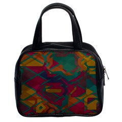 Geometric shapes in retro colors Classic Handbag (Two Sides)