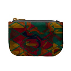 Geometric shapes in retro colors 	Mini Coin Purse