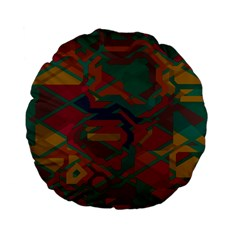 Geometric shapes in retro colors 	Standard 15  Premium Flano Round Cushion