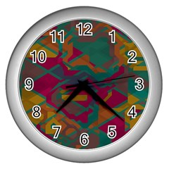 Geometric shapes in retro colors			Wall Clock (Silver)