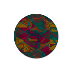 Geometric shapes in retro colors			Rubber Round Coaster (4 pack)