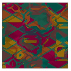 Geometric shapes in retro colors Satin Scarf