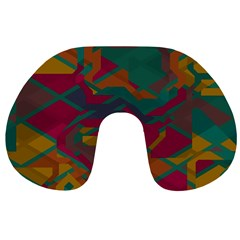 Geometric shapes in retro colors Travel Neck Pillow