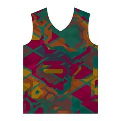 Geometric shapes in retro colors Men s Basketball Tank Top