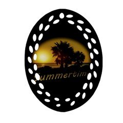 Sunset Scene at the Coast of Montevideo Uruguay Oval Filigree Ornament (2-Side)