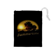 Sunset Scene At The Coast Of Montevideo Uruguay Drawstring Pouches (medium)