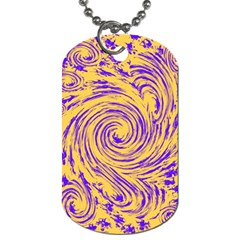 Purple And Orange Swirling Design Dog Tag (Two Sides)