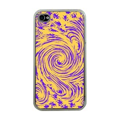 Purple And Orange Swirling Design Apple iPhone 4 Case (Clear)