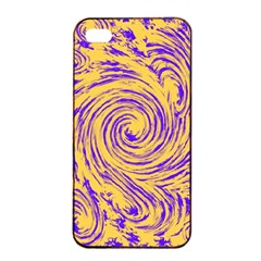 Purple And Orange Swirling Design Apple Iphone 4/4s Seamless Case (black)