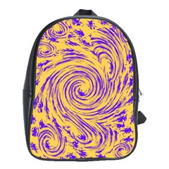 Purple And Orange Swirling Design School Bags (XL)