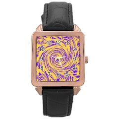 Purple And Orange Swirling Design Rose Gold Watches