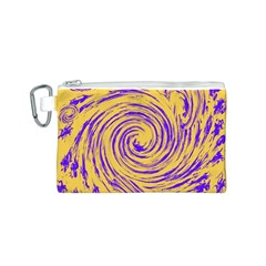 Purple And Orange Swirling Design Canvas Cosmetic Bag (S)