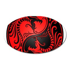 Yin Yang Dragons Red And Black Magnet (oval)