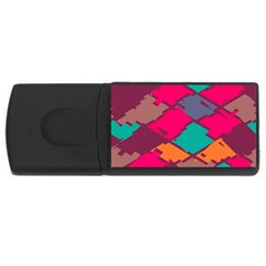 Pieces in retro colors			USB Flash Drive Rectangular (2 GB)