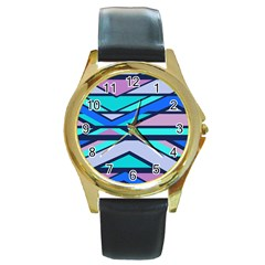 Angles and stripesRound Gold Metal Watch