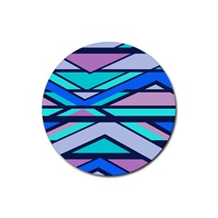 Angles and stripesRubber Round Coaster (4 pack)