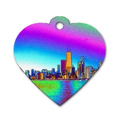 Chicago Colored Foil Effects Dog Tag Heart (One Side)