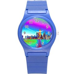 Chicago Colored Foil Effects Round Plastic Sport Watch (S)