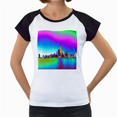Chicago Colored Foil Effects Women s Cap Sleeve T