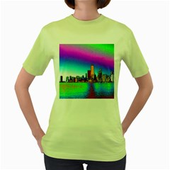 Chicago Colored Foil Effects Women s Green T Shirt