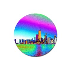 Chicago Colored Foil Effects Magnet 3  (round)