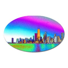 Chicago Colored Foil Effects Oval Magnet