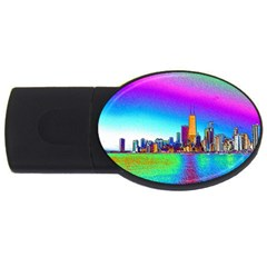 Chicago Colored Foil Effects USB Flash Drive Oval (1 GB)