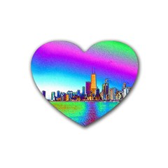 Chicago Colored Foil Effects Rubber Coaster (heart)