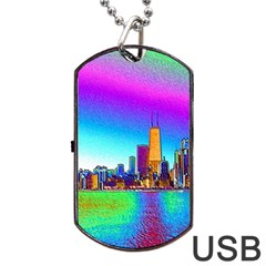 Chicago Colored Foil Effects Dog Tag USB Flash (One Side)
