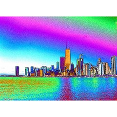 Chicago Colored Foil Effects Birthday Cake 3d Greeting Card (7x5)
