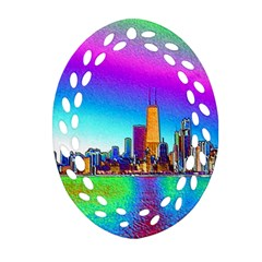 Chicago Colored Foil Effects Oval Filigree Ornament (2 Side)