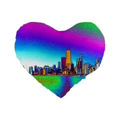Chicago Colored Foil Effects Standard 16  Premium Flano Heart Shape Cushions