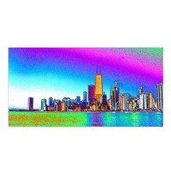 Chicago Colored Foil Effects Satin Shawl