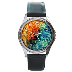 Orange Blue Background Round Metal Watches