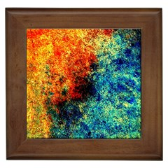 Orange Blue Background Framed Tiles