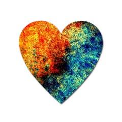 Orange Blue Background Heart Magnet