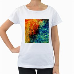 Orange Blue Background Women s Loose Fit T Shirt (white)