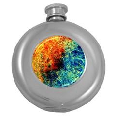 Orange Blue Background Round Hip Flask (5 Oz)