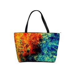 Orange Blue Background Shoulder Handbags