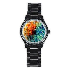 Orange Blue Background Stainless Steel Round Watches
