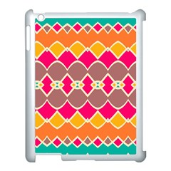 Symmetric shapes in retro colors			Apple iPad 3/4 Case (White)