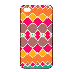 Symmetric Shapes In Retro Colors			apple Iphone 4/4s Seamless Case (black)