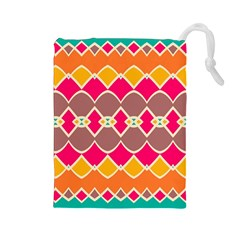 Symmetric shapes in retro colors Drawstring Pouch