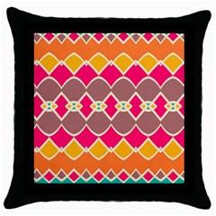 Symmetric shapes in retro colorsThrow Pillow Case (Black)